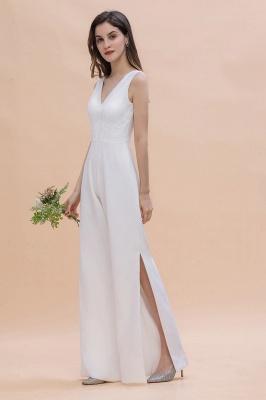 Schlichtes Abendkleid Jumpsuit | Weiße Brautjungfernkleider Lang Günstig_6