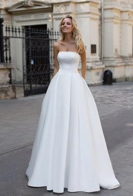 Schlichte Brautkleid A Linie | Satin Hochzeitskleider Günstig Online