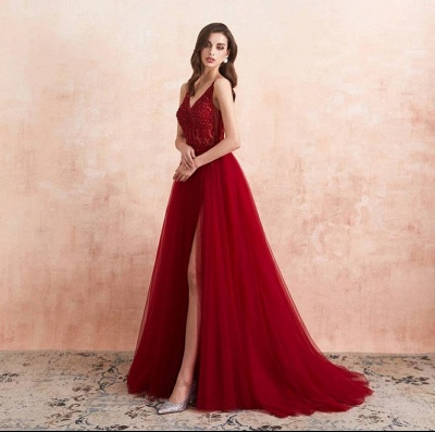Elegant evening dresses V neckline | Prom dresses long red online_4