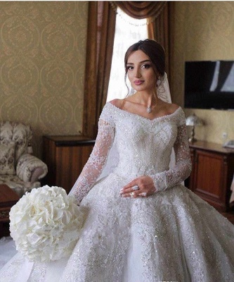 Luxury wedding dresses with sleeves | Wedding dress A line lace_6