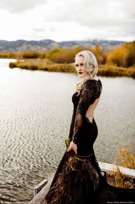 Schwarze Brautkleider Mit Ärmel | Meerjungfrau Hochzeitskleid Spitze_3