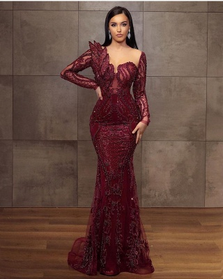 Wine red evening dresses long glitter | Prom dresses with lace sleeves_2