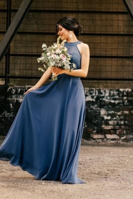 Schöne Brautjungfernkleider Lang Chiffon | Blaue Kleider Brautjungfern_1