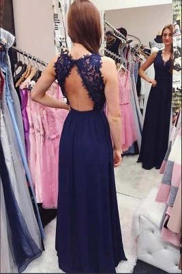 Evening dress plain with lace | Floor length evening wear online_3