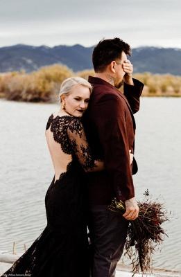 Schwarze Brautkleider Mit Ärmel | Meerjungfrau Hochzeitskleid Spitze_7