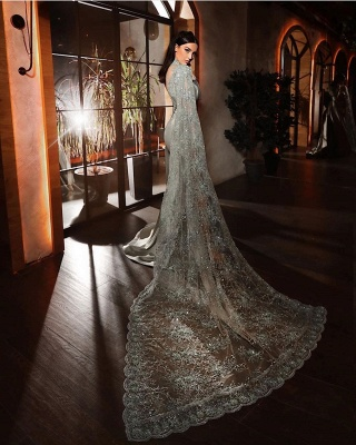 Silver evening dresses with lace | Beautiful prom dresses long sleeves_3