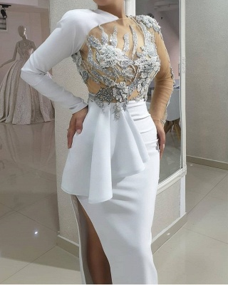 Evening dresses long white | Prom dresses with sleeves online_3