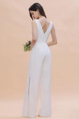 Schlichtes Abendkleid Jumpsuit | Weiße Brautjungfernkleider Lang Günstig_7