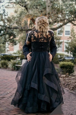 2 Part Wedding Dresses With Sleeves | Lace wedding dress black_5
