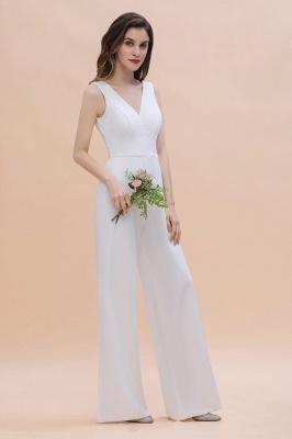 Schlichtes Abendkleid Jumpsuit | Weiße Brautjungfernkleider Lang Günstig_4