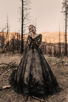 Black wedding dresses with sleeves | Lace wedding dress A line_5