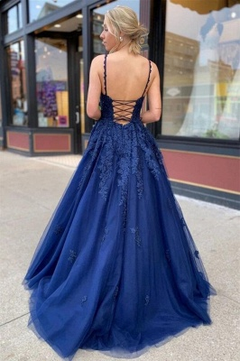 King Blue Evening Dresses Long Cheap | Prom dresses with lace_3
