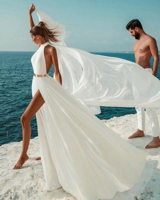 Sommer Chiffon Brautkleider Günstig | Schlichte Hochzeitskleid Online_6