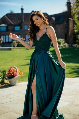 Simple evening dresses green | Prom dresses long cheap_1