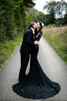 Black wedding dresses with sleeves | Mermaid wedding dresses with lace_6