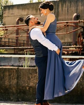 Schöne Brautjungfernkleider Lang Chiffon | Blaue Kleider Brautjungfern_4