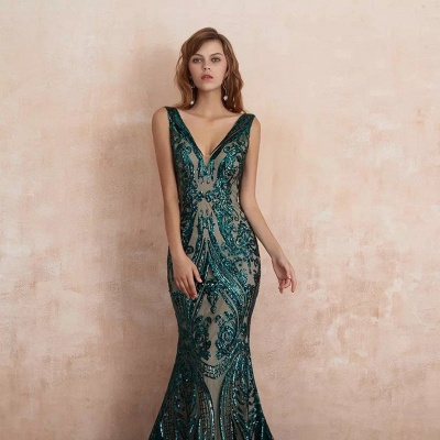 Green Evening Dresses Long V Neck | Prom dresses glitter_2