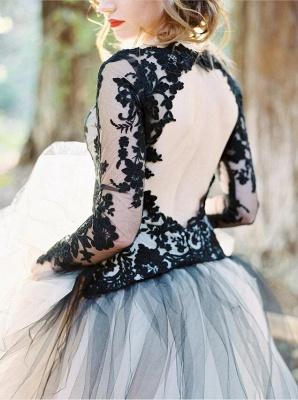 Schöne Brautkleider Schwarz | Spitze Hochzeitskleid mit Ärmel_3
