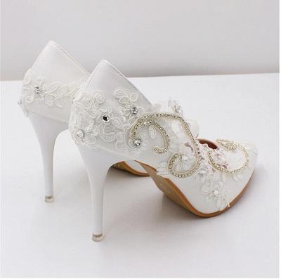Brautschuhe Weiß Glitzer | Hochzeitsschuhe Spitze_6