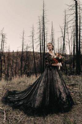 Schwarze Brautkleider Mit Ärmel | Spitze Hochzeitskleid A Linie_2
