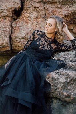 Schwarze Brautkleider mit Ärmel | A Linie Hochzeitskleider mit Spitze_4