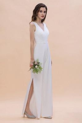 Schlichtes Abendkleid Jumpsuit | Weiße Brautjungfernkleider Lang Günstig_5