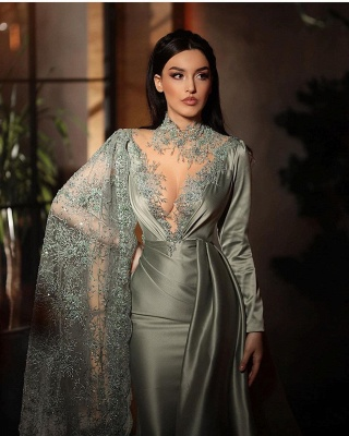 Silver evening dresses with lace | Beautiful prom dresses long sleeves_4