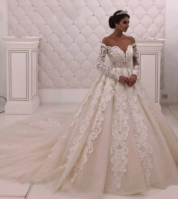 Designer wedding dress with sleeves | Wedding dresses A line with lace_2