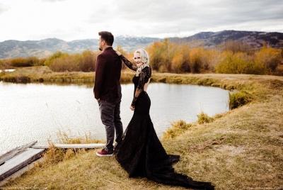 Schwarze Brautkleider Mit Ärmel | Meerjungfrau Hochzeitskleid Spitze_6