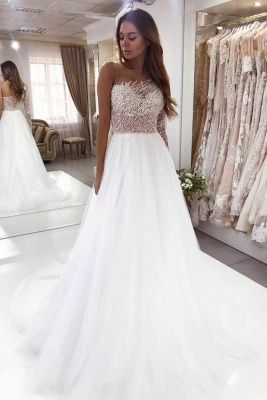 Luxury wedding dresses A line | Wedding dress with sleeves_1
