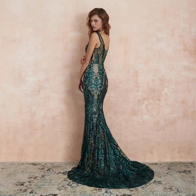 Green Evening Dresses Long V Neck | Prom dresses glitter_5
