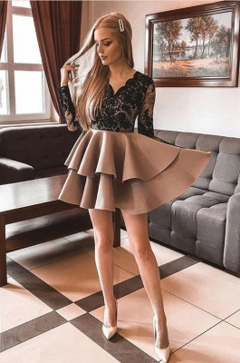 Cocktail dresses black with lace | Evening dresses short with sleeves_2