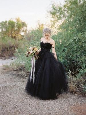 Schwarzes Hochzeitskleid A Linie | Tülle Brautkleider Online_2