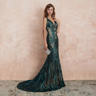Green Evening Dresses Long V Neck | Prom dresses glitter_6