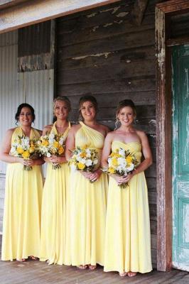 Brautjungfernkleid Lang Gelb | Chiffon Kleider Brautjungfer
