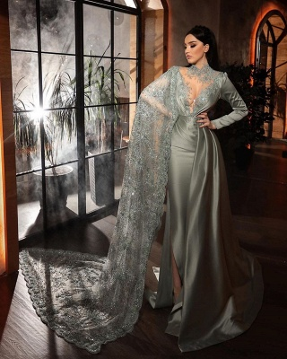 Silver evening dresses with lace | Beautiful prom dresses long sleeves_2
