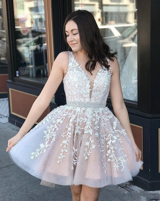Beautiful evening dresses V neckline | Cocktail dresses short with lace_2