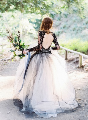 Schöne Brautkleider Schwarz | Spitze Hochzeitskleid mit Ärmel_2