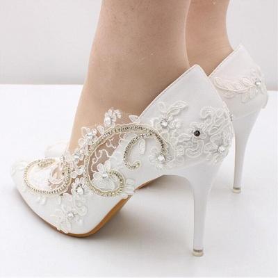 Brautschuhe Weiß Glitzer | Hochzeitsschuhe Spitze_5
