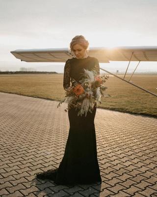 Gothic Brautkleider Schwarz | Meerjungfrau Hochzeitskleid mit Ärmel_3
