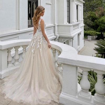 Wedding dress A line V neckline | Beautiful wedding dresses with lace_3