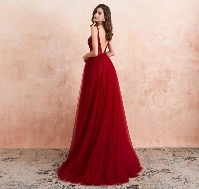 Elegant evening dresses V neckline | Prom dresses long red online_3
