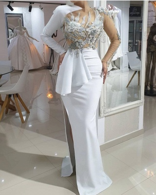 Evening dresses long white | Prom dresses with sleeves online_2
