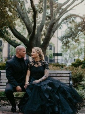 2 Part Wedding Dresses With Sleeves | Lace wedding dress black_6