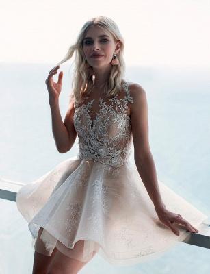 Elegante Brautkleid Kurz | A Linie Hochzeitskleid mit Spitze