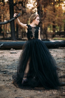 Black wedding dresses princess | Wedding dress with lace_3