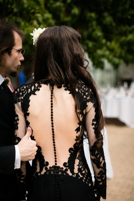Black wedding dresses with sleeves | Mermaid wedding dresses with lace_10