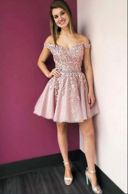 Beautiful evening dress short | Pink cocktail dresses with lace_2