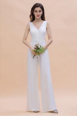 Schlichtes Abendkleid Jumpsuit | Weiße Brautjungfernkleider Lang Günstig_1