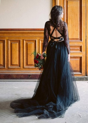 Simple black wedding dress with sleeves | Wedding dresses with lace_3